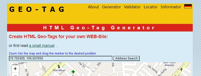 dán tọa độ vào khung Address Search