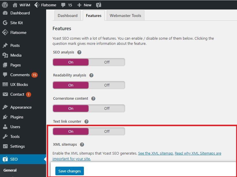 Kích hoạt tùy chọn Sitemap