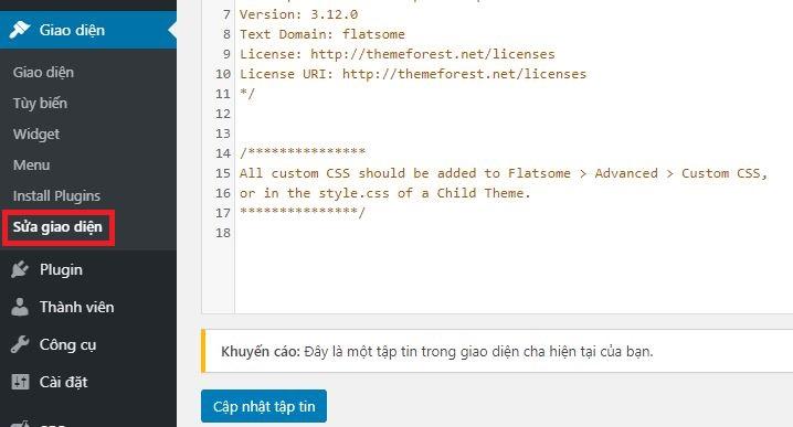 chọn mục sửa giao diện trong quản trị admin WordPress
