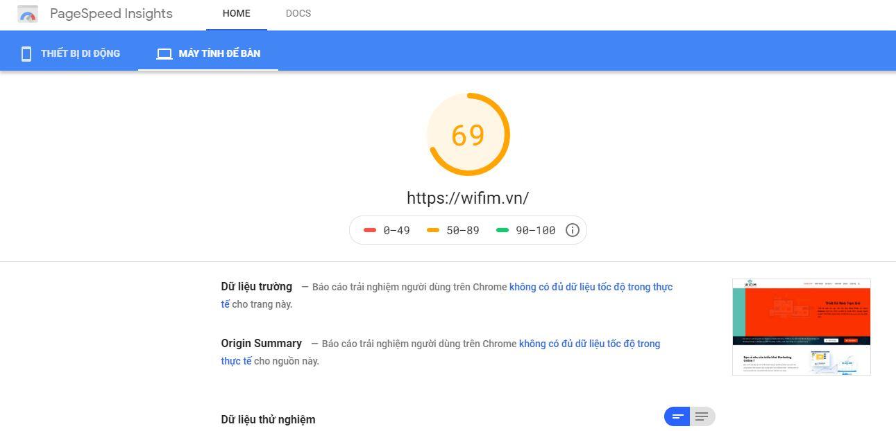pagespeed insights đánh giá tốc độ của wifim