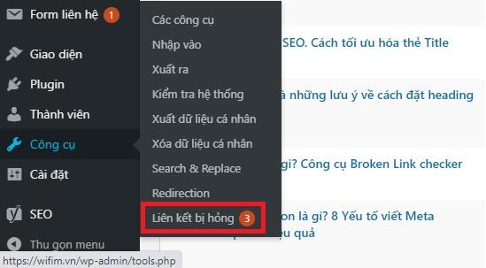 tìm kiếm các liên kết bị lỗi