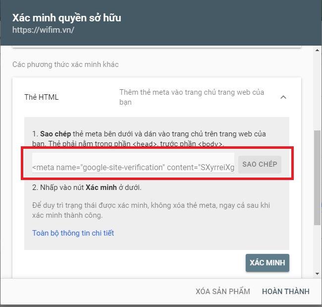 xác minh Google Webmaster Tool bằng thẻ html