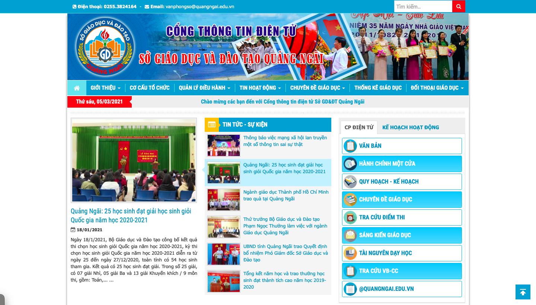 Website: http://quangngai.edu.vn cung cấp các thông tin về sở giáo dục và đào tạo tỉnh Quảng Ngãi, cũng như các thông tin, văn bản chính thức về giáo dục, các hoạt động giao lưu học thuật – thể thao