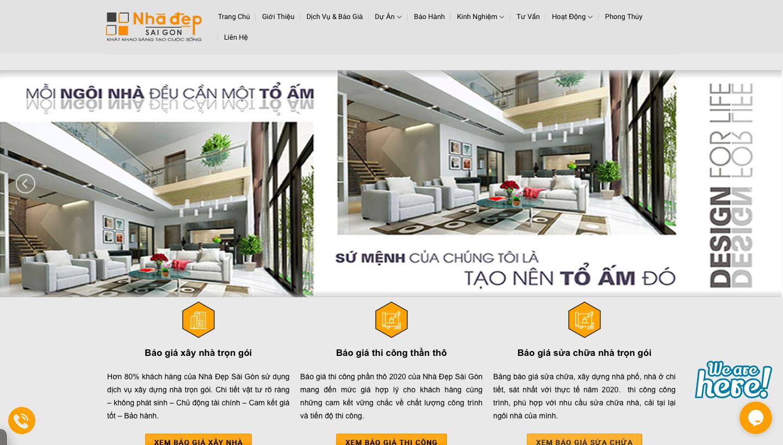 Website về thiết kế xây dựng nội thất được thiết kế bởi WifiM